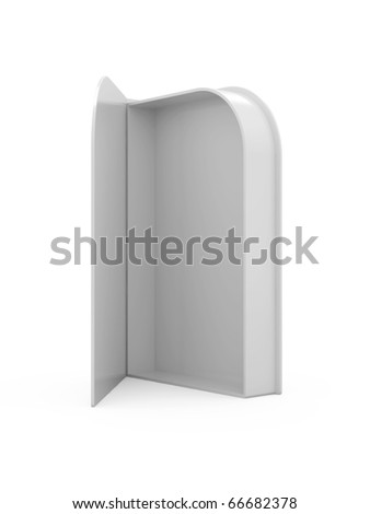 3d render of white opened box on white background - stock photo