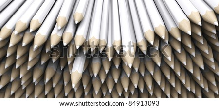 3D Render of white pencil crayons