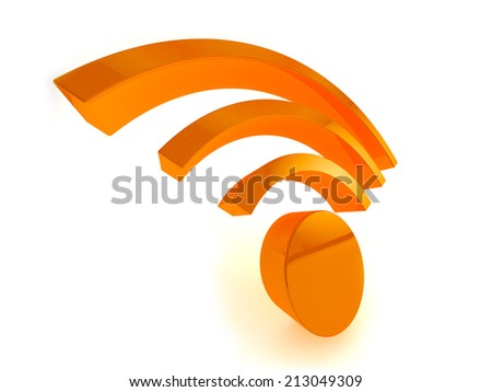 3D render of wifi icon on white background. - stock photo