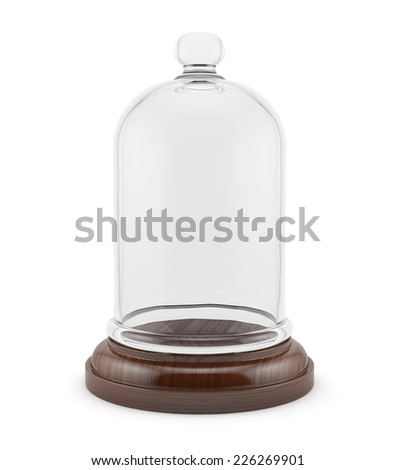 3d render of wooden bell with glass cap isolated on white background  - stock photo