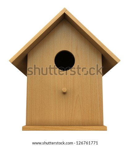 3d render of wooden birdhouse isolated on white background - stock photo