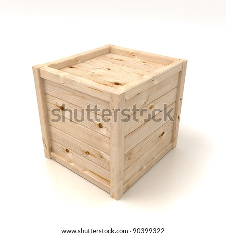 3d render of wooden box  on white - stock photo