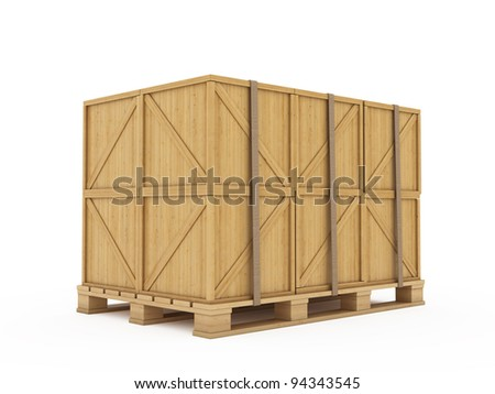 3d render of wooden boxes on palette isolated - stock photo
