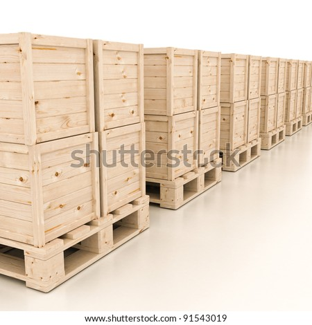3d render of wooden boxes on pallet on white - stock photo