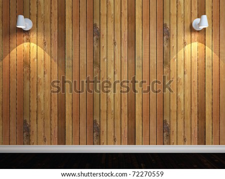 3d render of wooden wall with two lights - stock photo