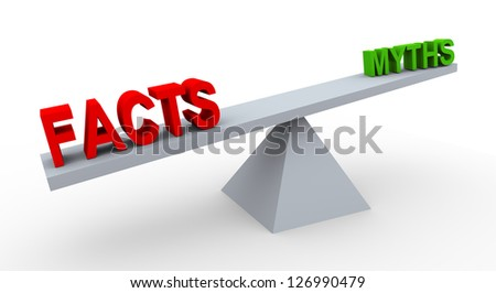 3d render of word facts and myths on balance scale. - stock photo