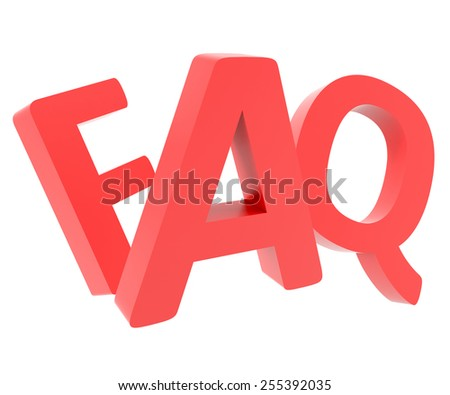 3d render of word FAQ (frequently asked questions) on white background - stock photo