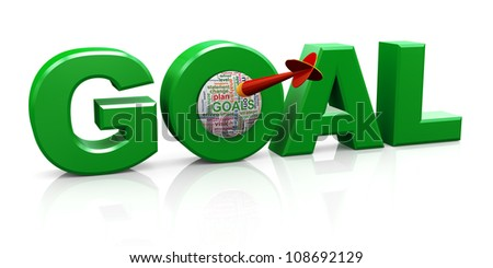 3d render of word goal with dart and goal wordcloud. - stock photo