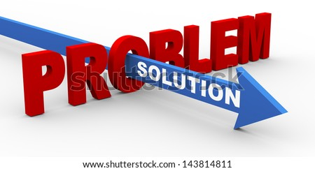 3d render of word problem and solution arrow. Concept of customer help and support. - stock photo