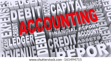 3d render of word tags wordcloud of concept of accounting - stock photo