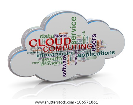 3d render of wordcloud of cloud computing concept. - stock photo