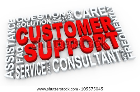 3d render of words related to customer support concept - stock photo