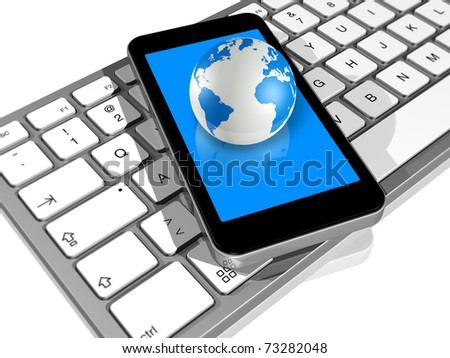 3D render of world globe on a mobile phone on a computer keyboard - stock photo