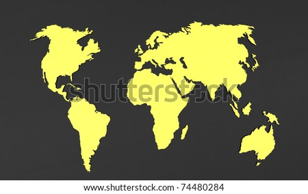 3d render of  world map on a grey background - stock photo