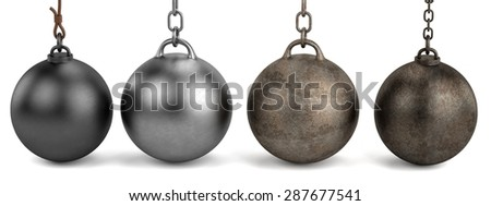 3d render of wrecking balls - stock photo