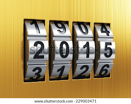 3d render of 2015 Year combination lock - stock photo