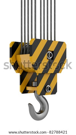 3d render of yellow crane hook isolated on white background