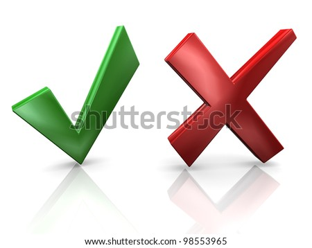 3d render of yes and no sign. Concept of decision making. - stock photo