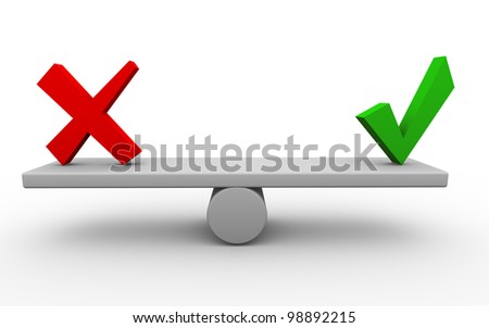 3d render of yes and no symbols on seesaw. - stock photo