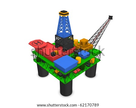 3d render offshore oil rig drilling platform isolated over white background - stock photo