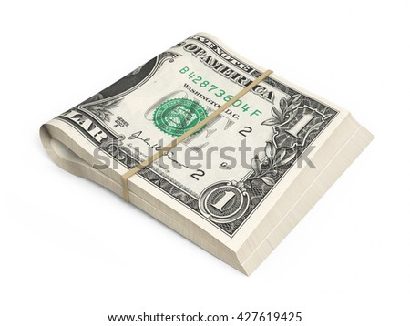 3D render One dollar banknotes stacks (isolated and clipping path) - stock photo