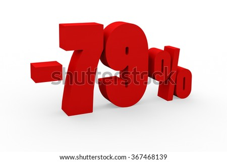3d render 79 percent discount on a white background.