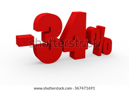 3d render 34 percent discount on a white background.
