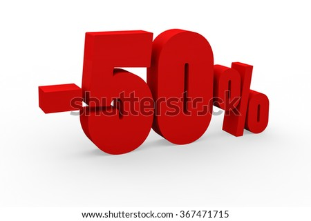 3d render 50 percent discount on a white background.