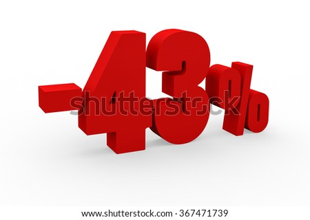 3d render 43 percent discount on a white background.