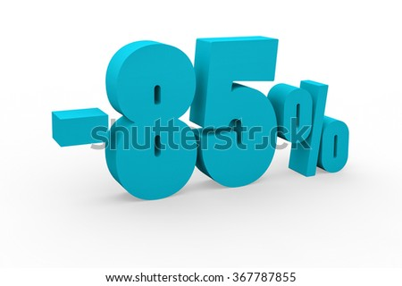 3d render 85 percent discount on a white background.