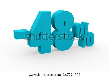 3d render 48 percent discount on a white background.