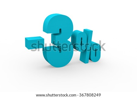 3d render 3 percent discount on a white background.  - stock photo
