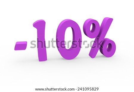 3d render 10 percent off on a white background - stock photo