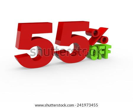 3d render 55 percent off on a white background - stock photo
