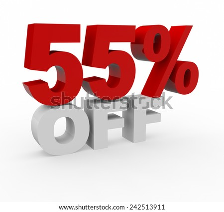 3d render 55 percent off on a white background.