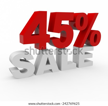 3d render 45 percent off on a white background.