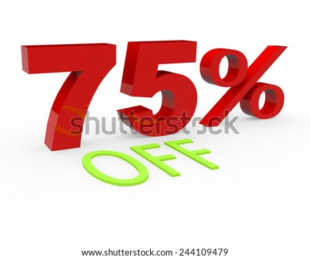 3d render 75 percent off on a white background.