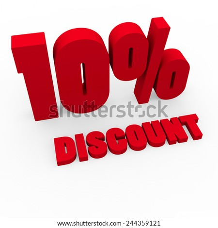 3d render 10 percent off on a white background.  - stock photo