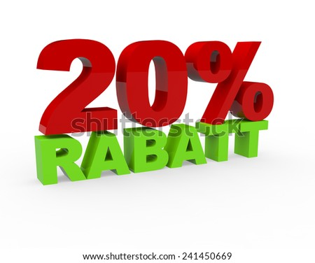 3d render 20 percent off with the word Rabatt (Discount in German) on a white background - stock photo