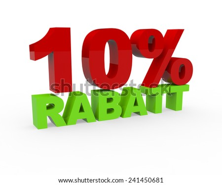 3d render 10 percent off with the word Rabatt (Discount in German) on a white background - stock photo