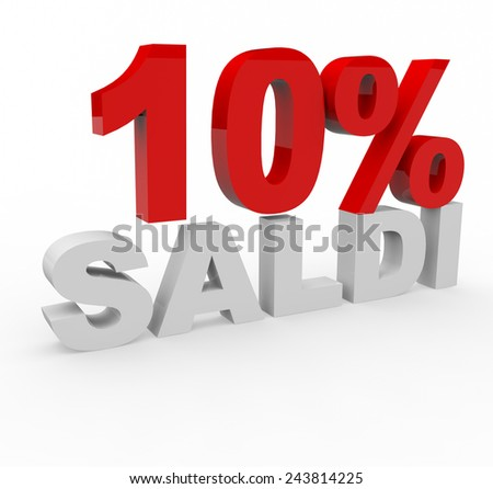 3d render 10 percent off with the word Saldi (Sale in Italian) on a white background.