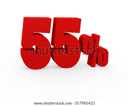 3d render 55 percent on a white background.  - stock photo