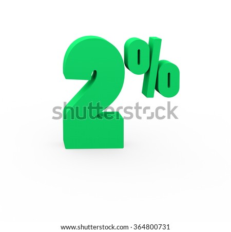 3d render 2 percent on a white background.  - stock photo