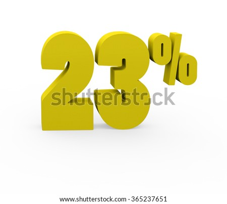 3d render 23 percent on a white background.  - stock photo