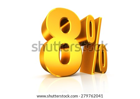 3D render percent text in gold on white background with reflection and path.
