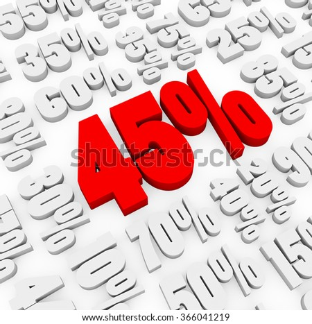 3d render 45 percent with other discount numbers on a white background.