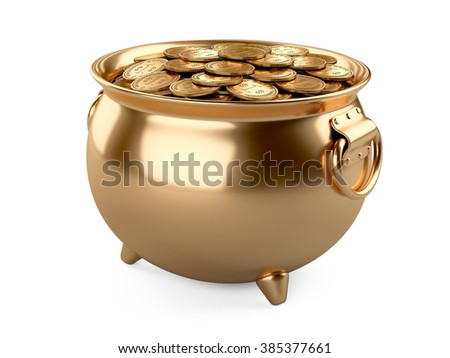 3d render pot of gold. cauldron full of coins isolated on white background. - stock photo