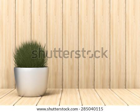 3d render pot plant on wood backdrop - stock photo