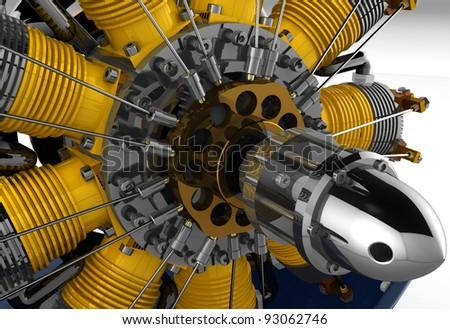 3D render Radial cylinder engine - stock photo