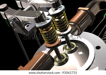 3D render Radial cylinder engine with black background - stock photo